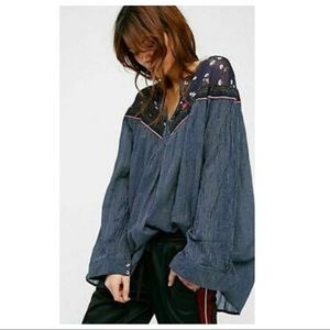 Free People hearts & colors peasant blouse navy M